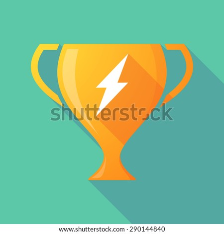 Illustration of a trophy icon with a lightning - stock vector