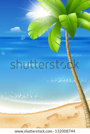 Illustration of a tropical beach with palm trees and sun - stock vector