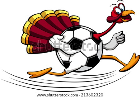 illustration of a turkey running with a  soccer ball or football for his body. - stock vector