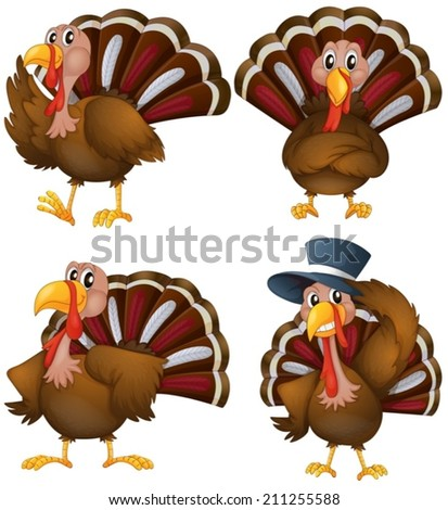 Illustration of a turkey set - stock vector