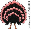 Illustration of a Turkey with its Tail Spread Wide - stock vector