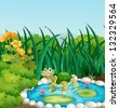 Illustration of a turtle in the pond with waterlilies - stock photo