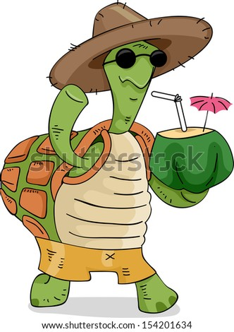 Illustration of a Turtle Wearing a Straw Hat Carrying a Coconut Drink - stock vector