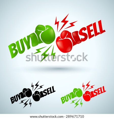 Illustration of a two gloves buy and sell - stock vector