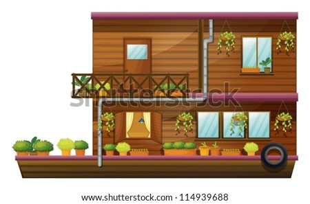illustration of a two stored house on white background - stock vector