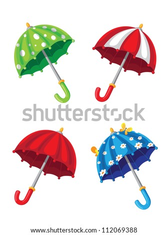 illustration of a umbrella set - stock vector