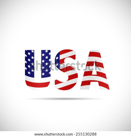 Illustration of a USA design with flag isolated on a white background. - stock vector