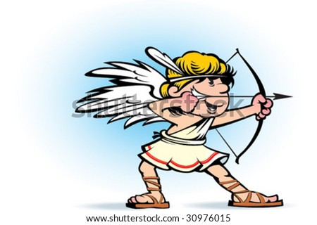 Illustration of a Valentine's Day cupid ready to shoot his arrow - stock vector