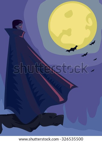 Illustration of a Vampire with a Full Moon for its Background - stock vector