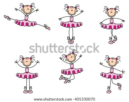 illustration of a variety dancing stick woman over a white background - stock vector