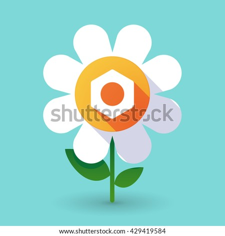 Illustration of a  vector flower with a nut - stock vector