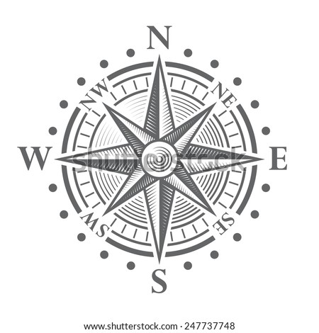 Illustration of a Vector hi quality Compass Rose. - stock vector