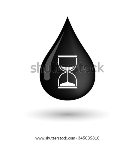 Illustration of a vector oil drop icon with a sand clock - stock vector