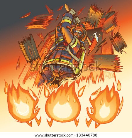 Illustration of a very intimidating firefighter crashing through a door and brandishing a fire axe, much to the dismay of three hapless anthropomorphic cartoon flames. - stock vector