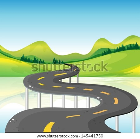 Illustration of a very narrow curve road - stock vector
