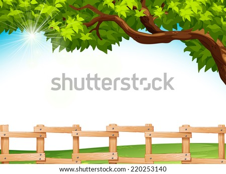 Illustration of a view of a farm - stock vector