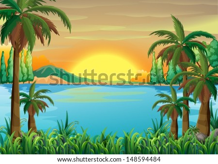 Illustration of a view of the deep blue lake - stock vector