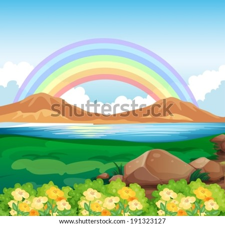 Illustration of a view of the rainbow and the beautiful nature