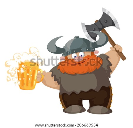 illustration of a viking and beer - stock vector