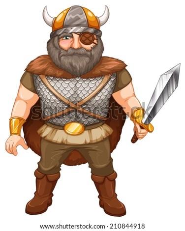 Illustration of a viking warrior - stock vector
