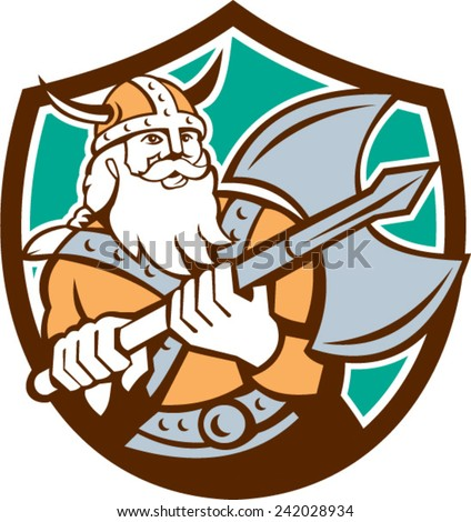 Illustration of a viking warrior raider barbarian with axe set inside shield crest on isolated background done in retro style. - stock vector