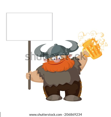 illustration of a viking with blank sign and beer - stock vector