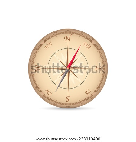 Illustration of a vintage compass isolated on a white background. - stock vector