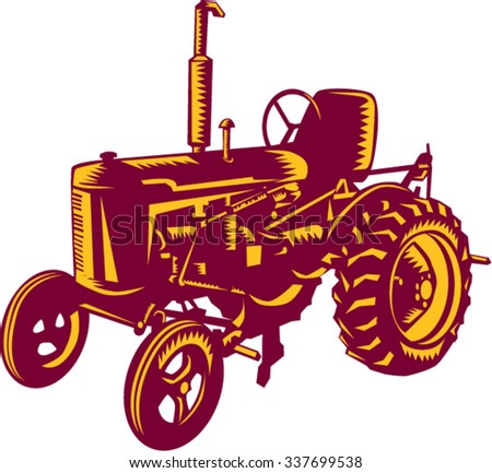 Illustration of a vintage farm tractor set on isolated white background done in retro woodcut style.  - stock vector