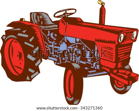 Illustration of a vintage farm tractor set on isolated white background viewed from the side done in retro woodcut style.  - stock vector