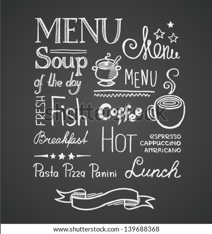 Illustration of a vintage graphic element for menu on blackboard - stock vector