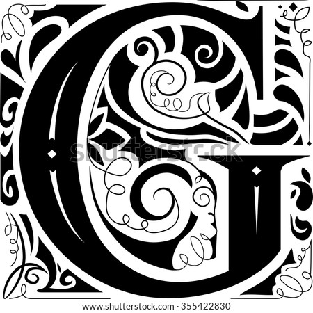 Illustration of a Vintage Monogram Featuring the Letter G - stock vector