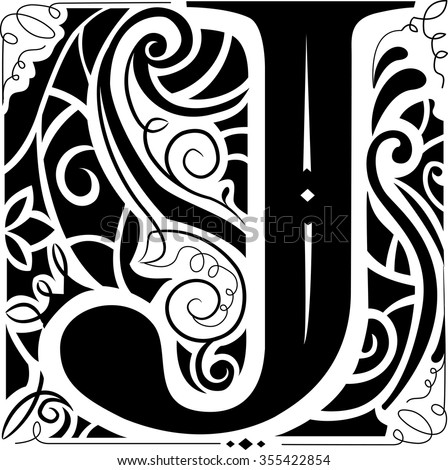 Illustration of a Vintage Monogram Featuring the Letter J - stock vector