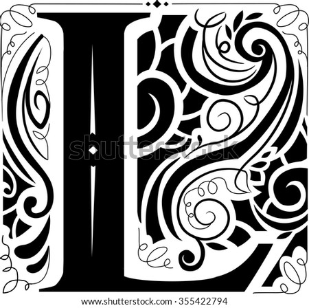 Illustration of a Vintage Monogram Featuring the Letter L - stock vector