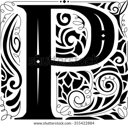 Illustration of a Vintage Monogram Featuring the Letter P - stock vector