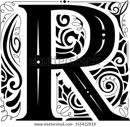 Illustration of a Vintage Monogram Featuring the Letter R - stock vector