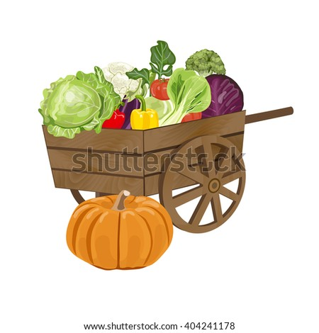 Illustration of a vintage wooden  barrow Filled With Freshly Picked Vegetables. Vector illustration EPS 10.