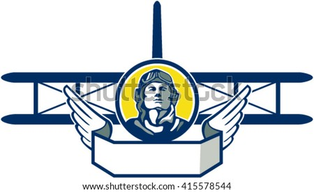 Illustration of a vintage world war one pilot airman aviator bust inside a circle with spad biplane fighter plane and wings in front done in retro style.