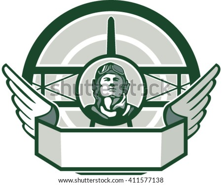 Illustration of a vintage world war one pilot airman aviator bust with spad biplane fighter plane front in background set inside circle done in retro style.  - stock vector