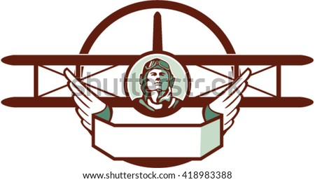 Illustration of a vintage world war one pilot airman aviator bust with spad biplane fighter plane set inside circle done in retro style.  - stock vector