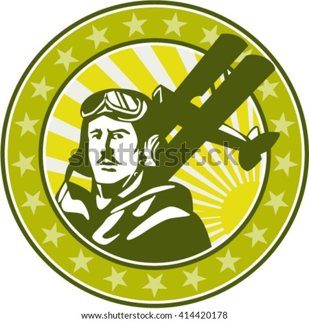Illustration of a vintage world war one pilot airman aviator bust with spad biplane fighter planes, sunburst and stars in background set inside circle done in retro style.  - stock vector