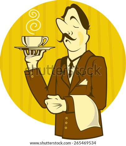 Illustration of a waiter carrying a coffee - stock vector