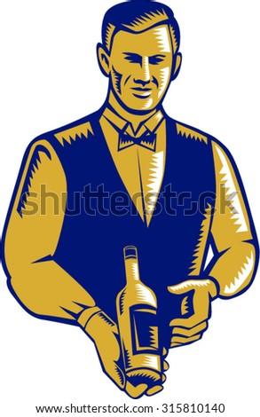 Illustration of a waiter holding presenting wine bottle facing front set on isolated white background done in retro woodcut style.  - stock vector