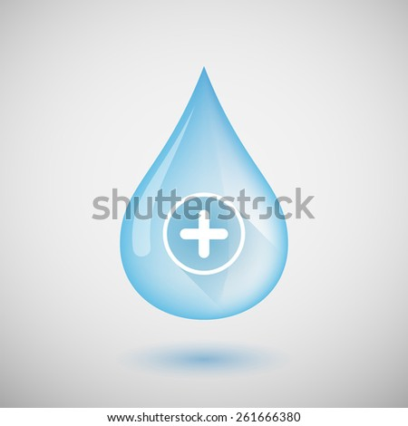 Illustration of a water drop with a sum sign - stock vector