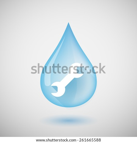 Illustration of a water drop with a wrench - stock vector