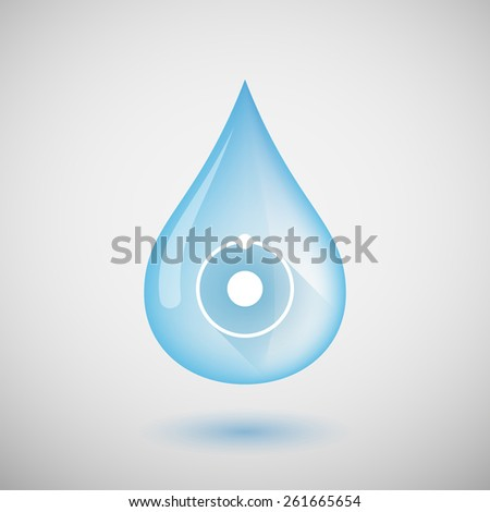 Illustration of a water drop with an atom - stock vector