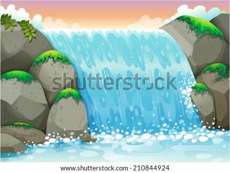 Illustration of a waterfall scene - stock vector