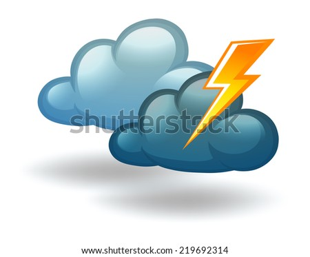 Illustration of a weather with thunder on a white background   - stock vector
