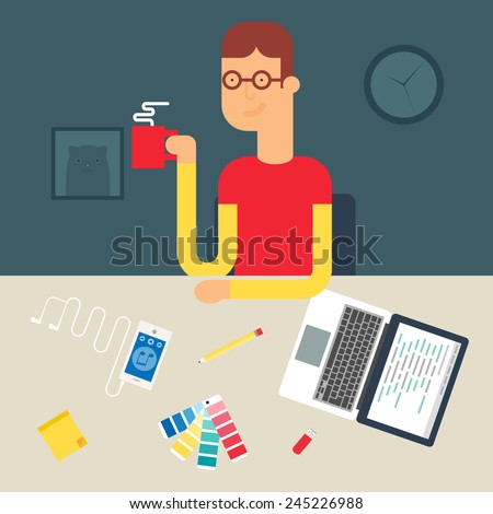 Illustration of a web developer sitting at the table, flat style  - stock vector