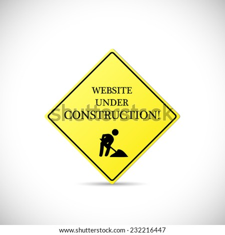 Illustration of a Website Under Construction sign isolated on a white background.