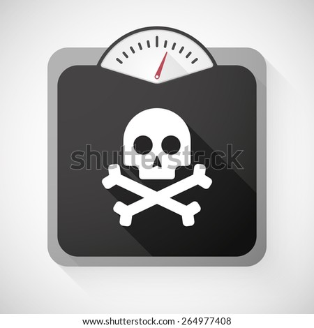 Illustration of a weight scale with a skull - stock vector